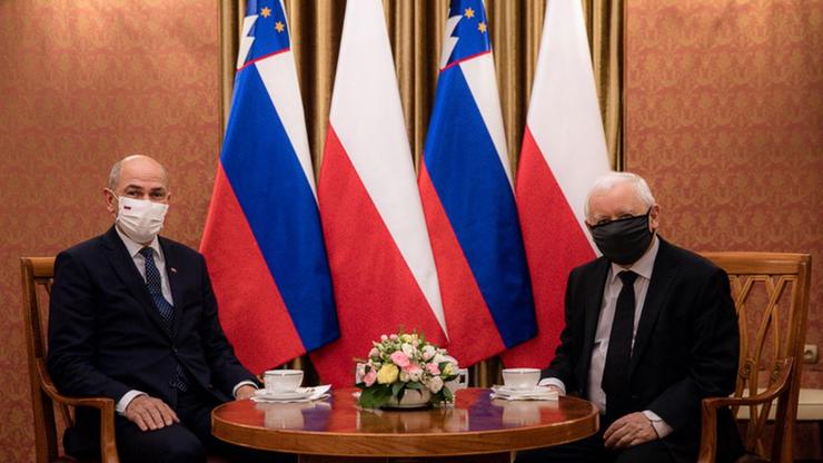 Prezes PiS spotkał się z premierem Słowenii Janezem Janszą